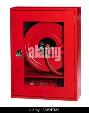 Red metal fire cabinet and fire extinguisher system in white background - Stock Photo