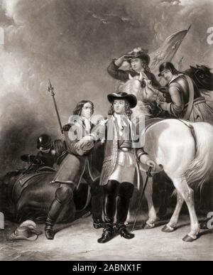 The lucky escape of William III on June 30, 1690, the day before the Battle of the Boyne.  The King was wounded in the shoulder by a splinter from artillery fire while surveying fords on the river Boyne.  In the picture Lord Coningsby staunches the King's wound.  From an engraving by William Giller after a work by Abraham Cooper. - Stock Photo