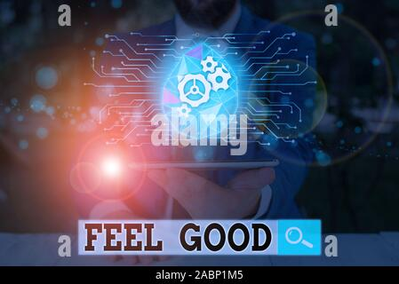 Text sign showing Feel Good. Business photo showcasing relating to or promoting an often specious sense of satisfaction - Stock Photo