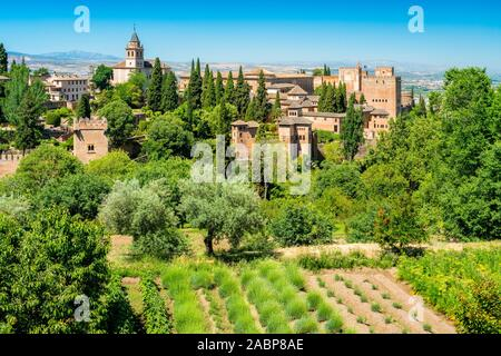 Panoramic sight with the Alhambra Palace as seen from the Generalife in Granada. Andalusia, Spain. - Stock Photo