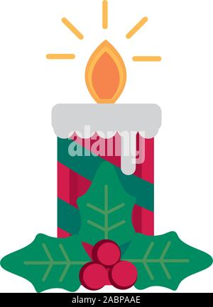 candle holly berry decoration happy christmas icon vector illustration - Stock Photo