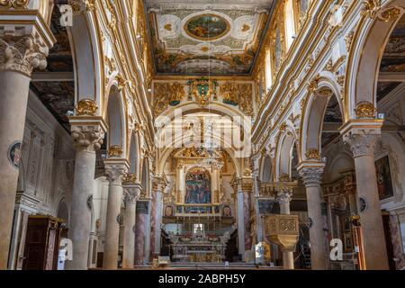 Interior of Matera Cathedral (La Cattedrale di Matera) on Piazza Duomo in Sassi District of Matera, Basilicata Region, Southern Italy - Stock Photo