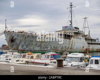 Ship Galeb in derelict state Rijeka Croatia ex president Josip Broz Tito's ship of Yugoslavian era - Stock Photo