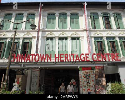 Front view of the Chinatown Heritage Centre in Singapore Chinatown - Stock Photo
