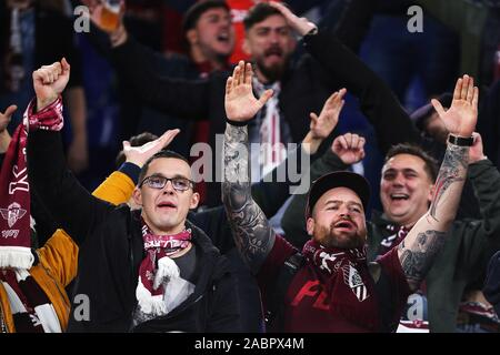 Supporters of Cluj before the UEFA Europa League, Group E football match between SS Lazio and CFR Cluj on November 28, 2019 at Stadio Olimpico in Rome, Italy - Photo Federico Proietti/ESPA-Images - Stock Photo