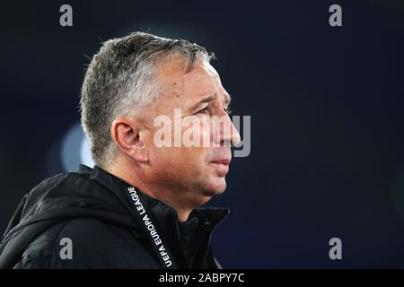 Cluj head coach Dan Petrescu reacts during the UEFA Europa League, Group E football match between SS Lazio and CFR Cluj on November 28, 2019 at Stadio Olimpico in Rome, Italy - Photo Federico Proietti/ESPA-Images - Stock Photo