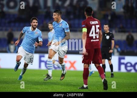 Joaquin Correa of Lazio celebrates with Danilo Cataldi after scoring 1-0 goal during the UEFA Europa League, Group E football match between SS Lazio and CFR Cluj on November 28, 2019 at Stadio Olimpico in Rome, Italy - Photo Federico Proietti/ESPA-Images - Stock Photo