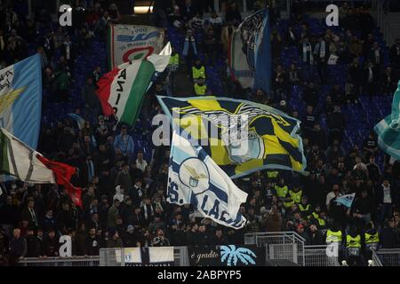 Rome, Italy. 28th Nov, 2019. Rome, Italy - November 28, 2019: Curva Nord supporters Lazio during the Uefa Europa League Group E soccer match between SS LAZIO vs CFR CLUJ, at Olympic Stadium in Rome. Credit: Independent Photo Agency/Alamy Live News - Stock Photo