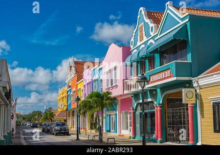 Kralendijk, Bonaire - Main street Kaya Grandi in Kralendijk on the island of Bonaire received this week an facelift with new colours on the buildings. - Stock Photo