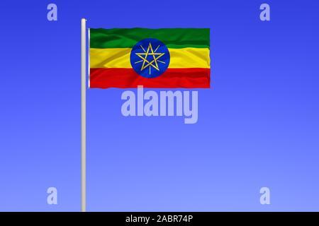 Flagge von Aethiopien, Binnenstaat in Nordafrika, Afrika, frueher Abessinien, Hauptstadt is Addis Abeba, - Stock Photo