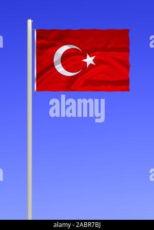 Flagge von Tuerkei - Stock Photo