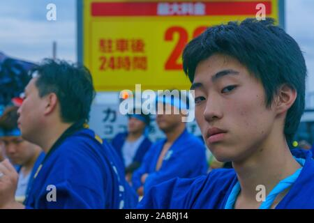 Himeji, Japan - October 14, 2019: Men in traditional dressing, part of the autumn festival of Oshio Tenman-gu Shrine, in Himeji, Japan - Stock Photo