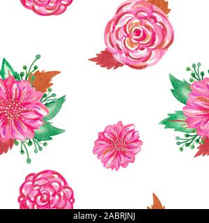 Seamless pattern hand painted watercolor. Delicate romantic flowers stem leaves. Clipart for wedding cards - Stock Photo