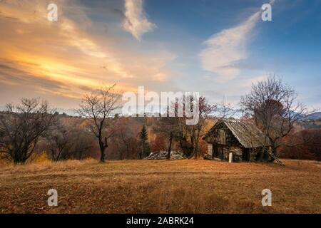 stunning landscape from Transylvania, Romania autumn over a ruined house and barn in Bran Viscri Brasov aerial view