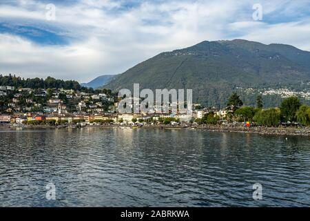View of Ascona from the ferry sailing on Lake, Canton Ticino, Switzerland,. - Stock Photo