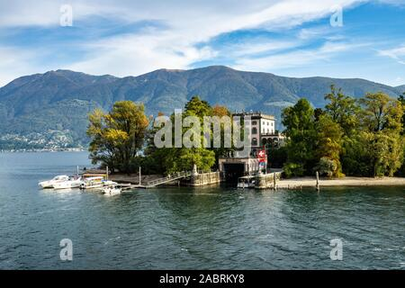 View of Isola Grande (or San Pancrazio), one of the two Brissago Island on the Swiss part of Lake Maggiore, Canton Ticino, Switzerland - Stock Photo