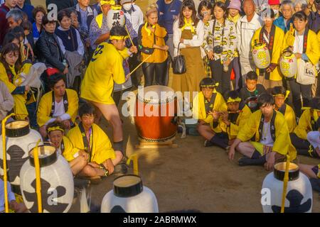 Himeji, Japan - October 15, 2019: Final circle session of the traditional dance of hair lion ceremony (shishimai). Part of the autumn festival of Oshi - Stock Photo