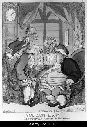 A doctor examining an obese man and his wife and servant for suspected food poisoning from toadstools. Coloured etching by T. Rowlandson, 1813..jpg - 2ABT0G5 - Stock Photo