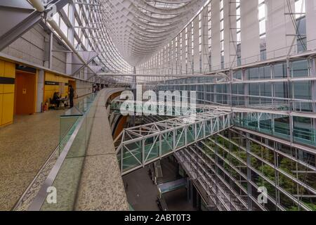 Tokyo, Japan - October 19, 2019: View of the Tokyo International Forum building, with visitors, in Tokyo, Japan
