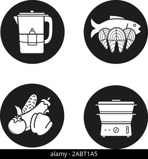 Steam cooking icons set. Vegetables, salmon fish steaks, water filter and steam cooker. Vector white silhouettes illustrations in black circles - Stock Photo