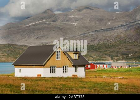 Europe, South West Greenland,  Igaliku, housing in the fjord