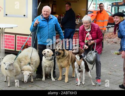 21 October 2019, Saxony, Schkeuditz: Werner Dreßler stands walking his animals, dogs and sheep in front of a bratwurst stall in the city centre, whose owner brings a sausage to the dogs. The 79-year-old master toolmaker takes the animals for a walk in the city every day and is an eye-catcher for locals and visitors alike. Photo: Waltraud Grubitzsch/dpa-Zentralbild/ZB - Stock Photo