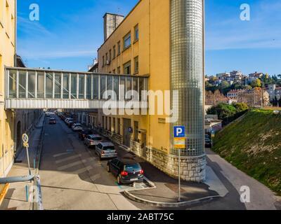 Rijeka Croatia Vodovodna ulica street  building zgrada ex Kozara Kozare Ruzic - Stock Photo