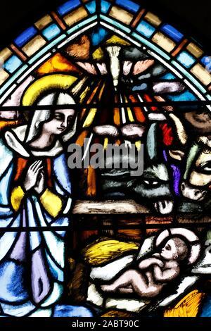 Saint Joseph church.  The nativity of Jesus in Bethlehem. Stained glass window.  Geneva. Switzerland. - Stock Photo