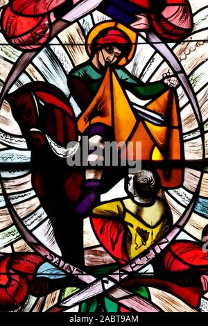 Saint Joseph des Fins church. Saint Martin. Stained glass window.  Annecy. France. - Stock Photo