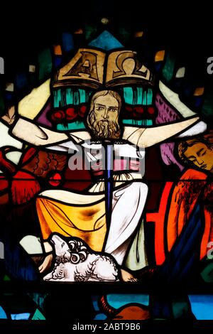Saint Joseph des Fins church. Jesus Christ. Stained glass window.  Annecy. France. - Stock Photo