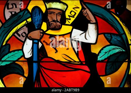 Saint Joseph des Fins church. King Solomon. Stained glass window.  Annecy. France. - Stock Photo