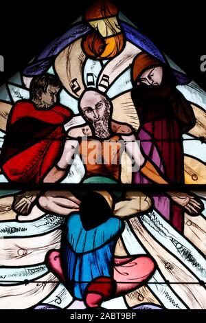 Saint Joseph des Fins church. Job the prophet.  Stained glass window.  Annecy. France. - Stock Photo