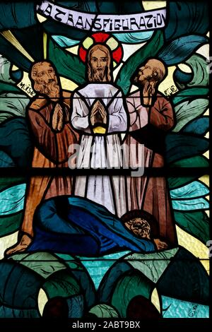 Saint Joseph des Fins church. The transfiguration is one of the miracles of Jesus in the Gospels. Stained glass window.  Annecy. France. - Stock Photo