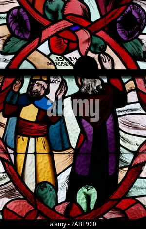 Saint Joseph des Fins church.  Abraham and Loth.  Stained glass window.  Annecy. France. - Stock Photo