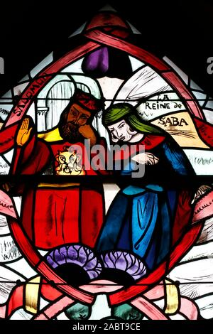 Saint Joseph des Fins church. Queen of Sheba and King Solomon. Stained glass window.  Annecy. France. - Stock Photo