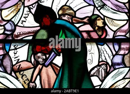 Saint Joseph des Fins church. Massacre of the Innocents. Stained glass window.  Annecy. France. - Stock Photo
