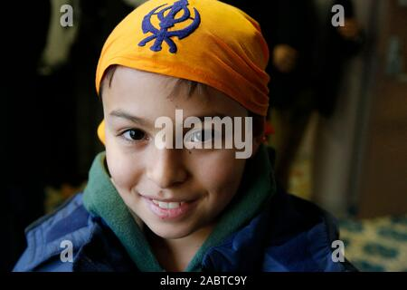 11-year-old boy in a sikh temple in Bobigny, France. - Stock Photo