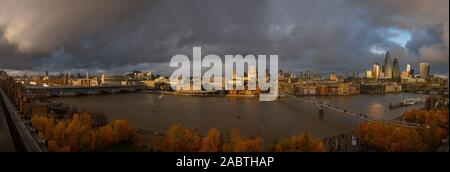London England UK. City Panorama viewed from the Tate Modern looking across the River Thames 27 November 2019 showing St Pauls Cathedral by Sir Christ - Stock Photo