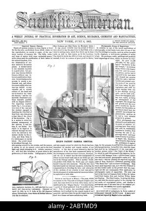 A WEEKLY JOURNAL OF PRACTICAL INFORMATION IN ART SCIENCE MECHANICS CIIEMISTRY AND MANUFACTURES KOLB'S PATENT CAMERA OBSCURA., scientific american, 1863-06-06 - Stock Photo