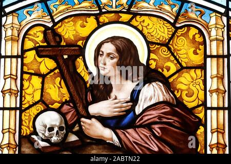 The Penitent Magdalene. Stained glass window. Thi Nghe Church.  Ho Chi Minh City. Vietnam. - Stock Photo