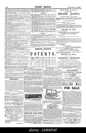 MUNN & CO. Publishers of the MUNN & CO. Specifications and Drawings for Patents caveats Re. Issues Designs Trade Marks Extensions Interferences and Assignments. FOREIGN PATENTS REISSUES INTERFERENCES HINTS ON SELLING PATENTS RULES AND PROCEEDINGS AT THE UNITED STATES PATENT OFFICE THE PATENT LAWS FEES ETC. SEE MUNN & CO. GREAT VALUE OXYGEN GAS. Wright's Pat. Square Dish Water Wheel HENRY WARD SERMONS IN PLYMOUTH PULPIT SPECIAL MACHINERY PRACTICAL _FORM DESIGNS AND WORKING DRAWINGS FOR SALE. New York Observer SAMPLE COPIES FREE MERRICK cfc SONS Southwark _Foundery, scientific american, 1869-11- - Stock Photo