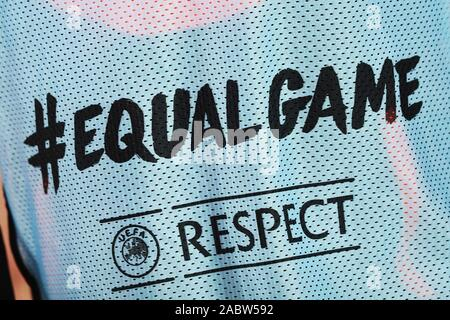 Equal Game and Respect campaign logos on a Cluj bib during the UEFA Europa League, Group E football match between SS Lazio and CFR Cluj on November 28, 2019 at Stadio Olimpico in Rome, Italy - Photo Federico Proietti/ESPA-Images - Stock Photo