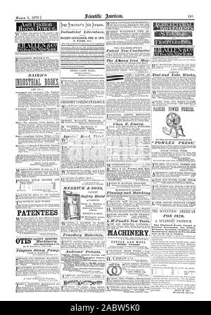 BAIRD'S CATALOGUE FEB. 15 1870. COTTON AND WOOL SHODDY PICKERS This Illustrated Weekly Journal  Practical Information Art Science Manutactures—Entered its Twenty.fth, scientific american, 1870-03-05 - Stock Photo