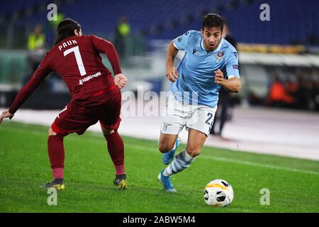 Jony of Lazio (R) and Alexandru Paun of Cluj (L) in action during the UEFA Europa League, Group E football match between SS Lazio and CFR Cluj on November 28, 2019 at Stadio Olimpico in Rome, Italy - Photo Federico Proietti/ESPA-Images - Stock Photo