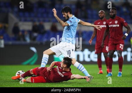Luis Alberto of Lazio (U) and Andrei Peteleu of Cluj (D) in action during the UEFA Europa League, Group E football match between SS Lazio and CFR Cluj on November 28, 2019 at Stadio Olimpico in Rome, Italy - Photo Federico Proietti/ESPA-Images - Stock Photo
