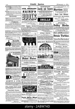 City Subintoih MUNN & CO. 37 Park Row New York. THE FREE MASON FOR 1871. The Largest Masonic Monthly in the World. L. L. SMITH 6 Howard st. New York. Nickel Plater. Canadian Inventors MUNN & CO. 37 Park Row New York. [BOLT CUTTER  Prices Reduced. Tanite Emery Wheel. HARDWOOD Boards ad VoRoors. HUNGARIAN ASH FRENCH BLACK WALNUT ANIBOINE THUYA AND TULIP WOOD GEO. W. READ & CO. DRILLS STEAM DRILLS. WIRE ROPE. THE Allen Engine Works THE ALL Porter's Governor The Allen Boiler and Standard Straight Edges Surface Plates and Angle Plates. BUILDING PAPER -BOOTS & SHOES-4 London 49 Cannon street - Stock Photo