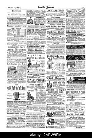 AUGUST 10 18721 93 WOODWORTH PLANERS Adratistunts. 81'00 a line Machinery Reynolds' Gearing. Shafting. Machinists' Tools. Cold Rolled Shafting. CHEAP ENGINES. STEAM PUMP'S Sturtevant Blowers out Injury. Send for Circulars. WILDER'S Pat. Punching Presses EDWARD R. HOSKIN WROUGH1 BEAMS GIP° PROPELLER PUMP CIRCULAR SLIDE VALVE FOR Milling Machines. errE-A PUMPING MACHINDRY MOLDING MORTISING MACHINES; BAND SAWS SCROLL SAWS Migrated Catalogue 8 120 & 122 East Second Bt. PATENT IMPROVED VARIETY MOLDING MACHINERY And Adjustable 0TIS) gprorisImprovedTu.thine WATER-WHEEL. CHEAPEST & BEST WHEEL MADE HOW - Stock Photo