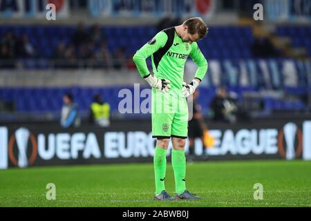 Cluj goalkeeper Giedrius Arlauskis reacts at the end of the UEFA Europa League, Group E football match between SS Lazio and CFR Cluj on November 28, 2019 at Stadio Olimpico in Rome, Italy - Photo Federico Proietti/ESPA-Images - Stock Photo