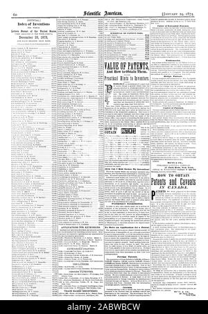 How Can I Best Secure My Invention? Preliminary Examination. To Make an Application for a Patent Foreign Patents. Caveats. Value of Extended Patents. Trademarks. Design Patents. Copies of Patents. MUNN at CO. 37 Park Row New York., scientific american, 1874-01-24 - Stock Photo