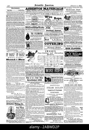 Back Page $1.00 a line. HOUGHTON'S AUTOMATIC HOUSE PUMP Read. & Mee Back Page - . $1.00 a line) SCIENTIFIC AMERICAN. Munn & 37 Park Row New York. .8bestos Pelting Co. 316322 Front SG N Y. NOYE'S MillPurnishingWorks Branch Depots: Established 1846. The Oldest Agency for Soliciting Patents MUNN & CO. Publishers SCIENTIFIC AMERICAN BRANCH Osruno--Corner F and 7th Streets Washington D. C. NON-COMBUSTIBLE STEAM BOILER & PIPE COVERING Wire Rope. IRON 43 Broadway New York. Portland Cement. ICK's ENCYCLOPEDIA OF 6422 North uhelmsiord Maus. Corrugated Iron COMPANY. EAGLE FOOT LATHES PERFECT NEWSPAPER - Stock Photo